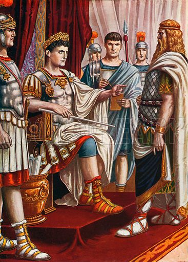 King Decebalus surrendering to the emperor Trajan.  Illustration for Storia d'Italia by Paolo Giudici (Nerbini, 1929).