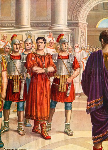 Sejanus under arrest in the Senate. Illustration for Storia d'Italia by Paolo Giudici (Nerbini, 1929).