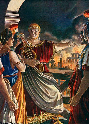 Nero watching Rome burn. Illustration for Storia d'Italia by Paolo Giudici (Nerbini, 1929).