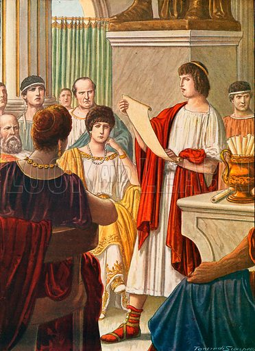 Virgil reading his poems to Augustus with Octavia present. Illustration for Storia d'Italia by Paolo Giudici (Nerbini, 1929).