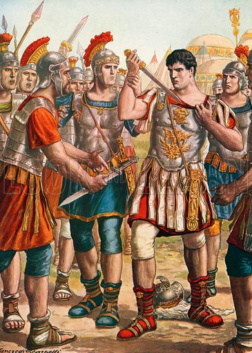 Germanicus offering to kill himself. Illustration for Storia d'Italia by Paolo Giudici (Nerbini, 1929).