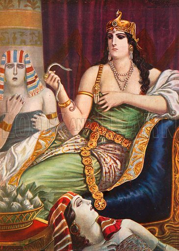 Suicide of Cleopatra. Illustration for Storia d'Italia by Paolo Giudici (Nerbini, 1929).