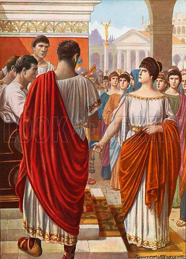 Ortensia protesting in the Forum. Illustration for Storia d'Italia by Paolo Giudici (Nerbini, 1929).