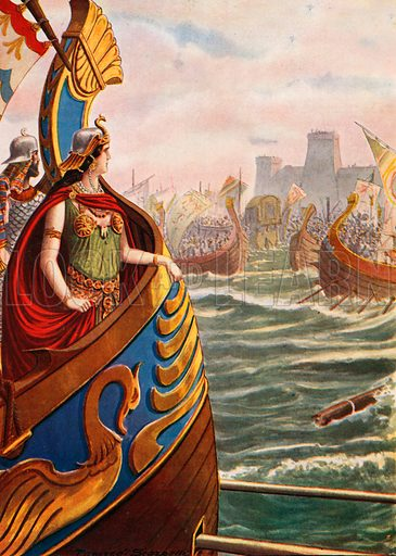 Cleopatra at the battle of Actium. Illustration for Storia d'Italia by Paolo Giudici (Nerbini, 1929).
