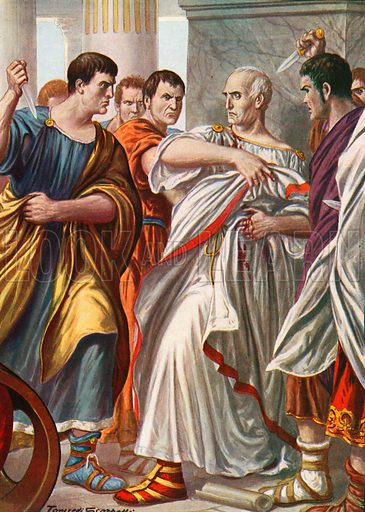 The assassination of Julius Caesar. Illustration for Storia d'Italia by Paolo Giudici (Nerbini, 1929).