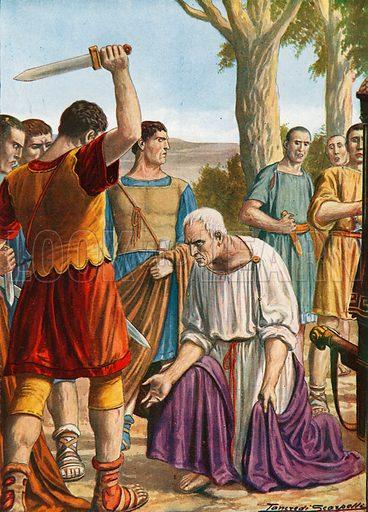 The death of Cicero. Illustration for Storia d'Italia by Paolo Giudici (Nerbini, 1929).