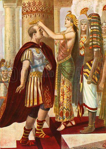 Cleopatra welcoming Caesar. Illustration for Storia d'Italia by Paolo Giudici (Nerbini, 1929).