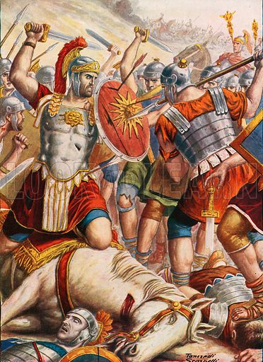 Lucullus fighting to stop the advance of Mithridates. Illustration for Storia d'Italia by Paolo Giudici (Nerbini, 1929).