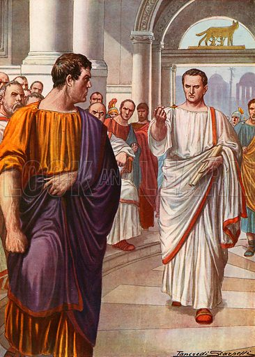 """Cicero's first oration against Catiline. """"How long will you continue to abuse our patience, Catiline?"""" Illustration for Storia d'Italia by Paolo Giudici (Nerbini, 1929)."""