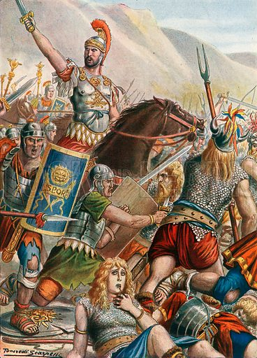 The Battle of Vercellae, also called Battle of Raudine Plain. Illustration for Storia d'Italia by Paolo Giudici (Nerbini, 1929).