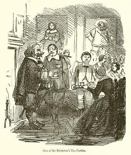 One of the Protector's Tea Parties. Illustration for The Comic History of England (Bradbury, Evans & Co, c 18600.