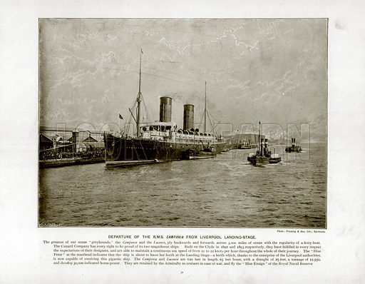 Departure of the R.M.S. Campania from Liverpool Landing-Stage. Photograph from The Queen's Empire (Cassell, 1899).