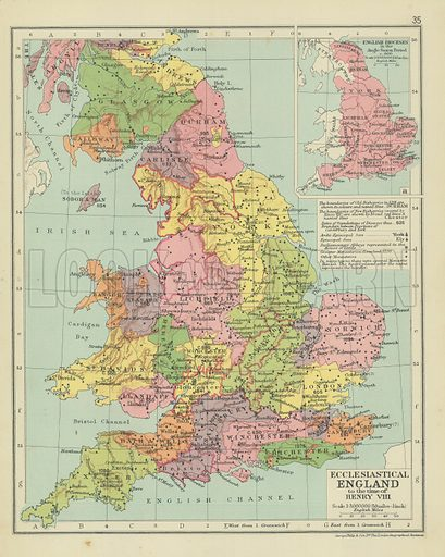 Map Of England Henry Viii.Ecclesiastical England To The Time Of Henry Viii Look And