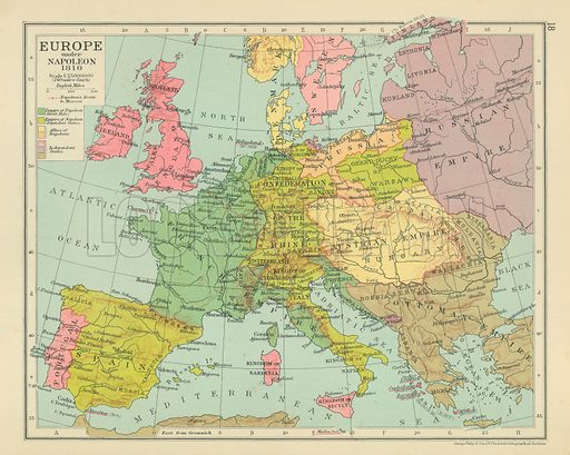 Europe Under Napoleon 1810 Look And Learn History Picture Library