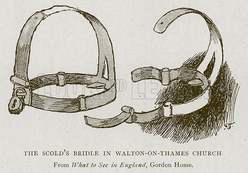 The Scold's Bridle in Walton-on-Thames Church. Illustration for Mediaeval London Vol 1 by Sir Walter Besant (A&C Black, 1906).
