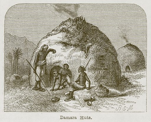Damara Huts. Illustration for Curiosities of Savage Life by James Greenwood (S O Beton, 1863).
