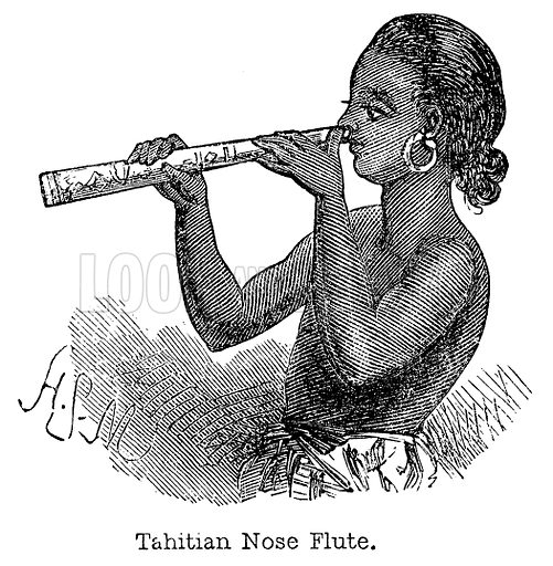 Tahitian Nose Flute. Illustration for Curiosities of Savage Life by James Greenwood (SO Beton, 1863).