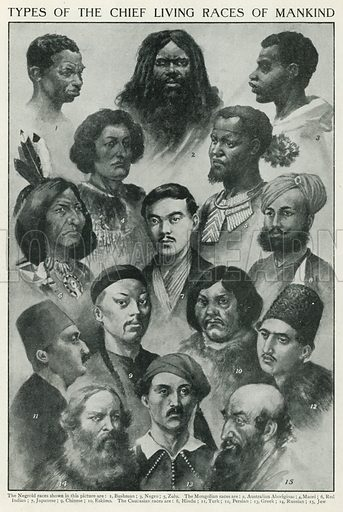 Types of the Chief Living Races of Mankind. Illustration for the Harmsworth Natural History (1911).