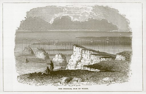 The Needles, Isle of Wight. Illustration for Wonders of the World (D Omer Smith, c 1860).