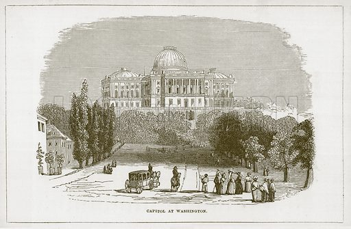 Capitol at Washington. Illustration for Wonders of the World (D Omer Smith, c 1860).