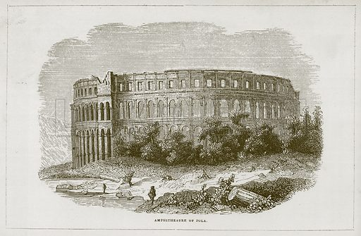 Amphitheatre of Pola. Illustration for Wonders of the World (D Omer Smith, c 1860).