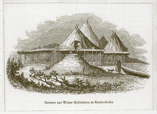 Summer and Winter Habitations at Kamtschatka. Illustration for Wonders of the World (D Omer Smith, c 1860).