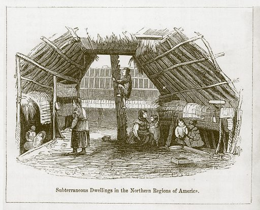 Subterraneous Dwellings in the Northern Regions of America. Illustration for Wonders of the World (D Omer Smith, c 1860).