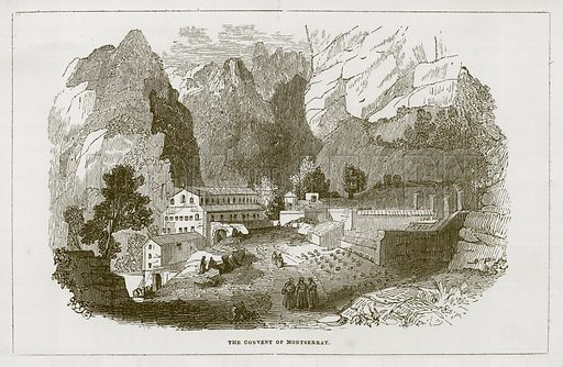 The Convent of Montserrat. Illustration for Wonders of the World (D Omer Smith, c 1860).