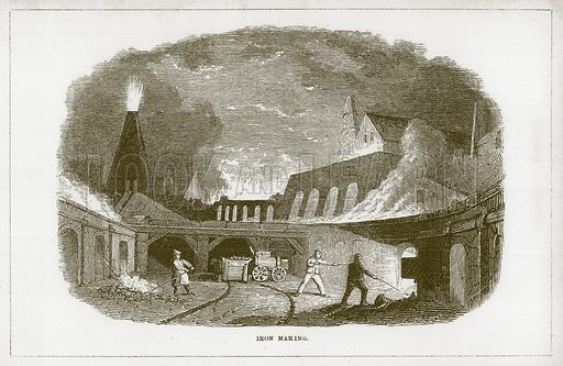 Iron Making. Illustration for Wonders of the World (D Omer Smith, c 1860).
