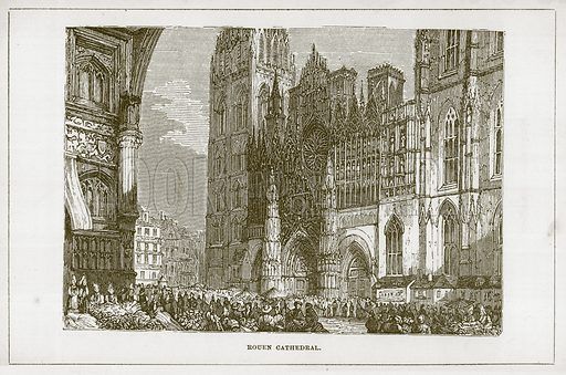 Rouen Cathedral. Illustration for Wonders of the World (D Omer Smith, c 1860).