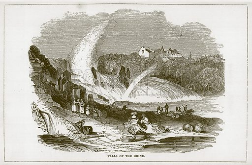 Falls of the Rhine. Illustration for Wonders of the World (D Omer Smith, c 1860).