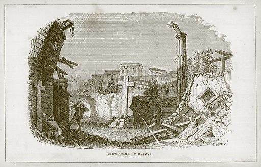 Earthquake at Messina. Illustration for Wonders of the World (D Omer Smith, c 1860).