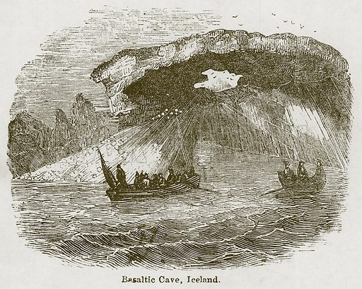 Basaltic Cave, Iceland. Illustration for Wonders of the World (D Omer Smith, c 1860).