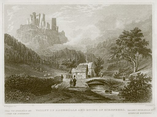 Valley of Engeholle and Ruins of Schonberg. Illustration for Wonders of the World (D Omer Smith, c 1860).
