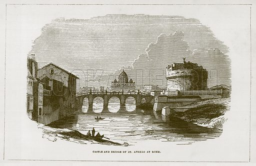 Castle and Bridge of St Angelo at Rome. Illustration for Wonders of the World (D Omer Smith, c 1860).
