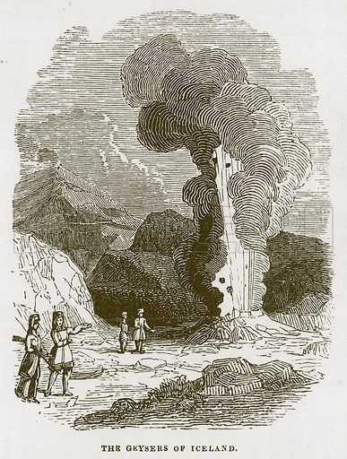The Geysers of Iceland. Illustration for Wonders of the World (D Omer Smith, c 1860).