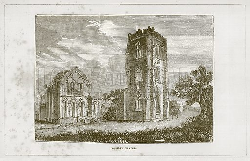 Rosslyn Chapel. Illustration for Wonders of the World (D Omer Smith, c 1860).