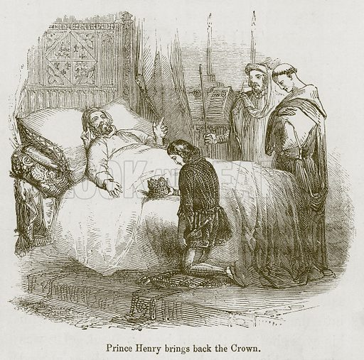 Prince Henry Brings back the Crown. Illustration for Stories selected from the History of England (John Murray, 1854).