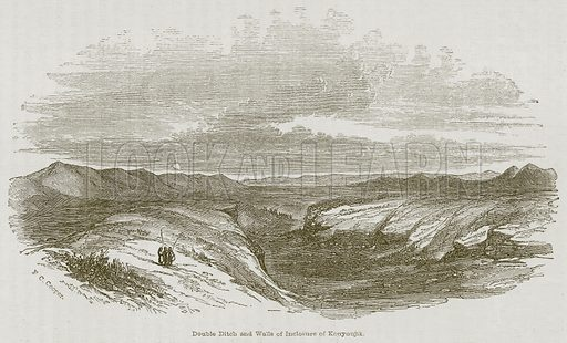 Double Ditch and Walls of Inclosure of Kouyunjik. Illustration for Discoveries in the Ruins of Nineveh and Babylon by Austen Layard (John Murray, 1853).