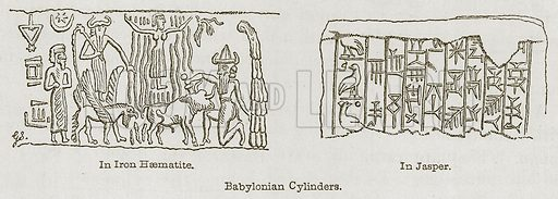 Babylonian Cylinders. In Iron Haematite. In Jasper. Illustration for Discoveries in the Ruins of Nineveh and Babylon by Austen Layard (John Murray, 1853).