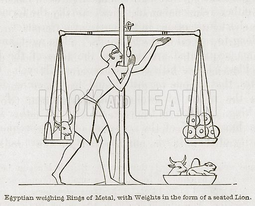Egyptian Weighing Rings of Metal, with Weights in the Form of a Seated Lion. Illustration for Discoveries in the Ruins of Nineveh and Babylon by Austen Layard (John Murray, 1853).