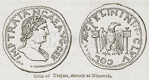 Coin of Trajan, Struck at Nineveh. Illustration for Discoveries in the Ruins of Nineveh and Babylon by Austen Layard (John Murray, 1853).