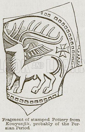 Fragment of Stamped Pottery from Kouyunjik, probably of the Persian Period. Illustration for Discoveries in the Ruins of Nineveh and Babylon by Austen Layard (John Murray, 1853).