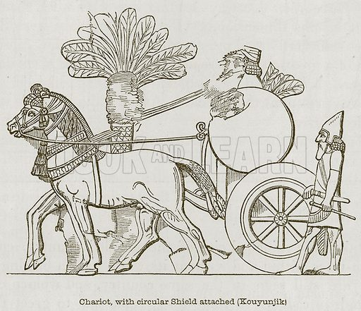 Chariot, with Circular Shield attached (Kouyunjik). Illustration for Discoveries in the Ruins of Nineveh and Babylon by Austen Layard (John Murray, 1853).