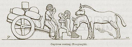Captives Resting (Kouyunjik). Illustration for Discoveries in the Ruins of Nineveh and Babylon by Austen Layard (John Murray, 1853).
