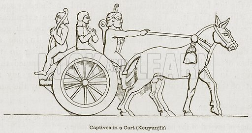 Captives in a Cart (Kouyunjik). Illustration for Discoveries in the Ruins of Nineveh and Babylon by Austen Layard (John Murray, 1853).