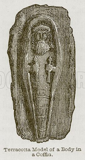 Terracotta Model of a Body in a Coffin. Illustration for Discoveries in the Ruins of Nineveh and Babylon by Austen Layard (John Murray, 1853).