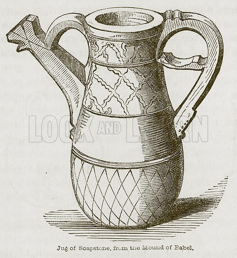 Jug of Soapstone, from the Mound of Babel. Illustration for Discoveries in the Ruins of Nineveh and Babylon by Austen Layard (John Murray, 1853).