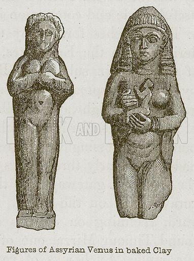 Figures of Assyrian Venus in Baked Clay. Illustration for Discoveries in the Ruins of Nineveh and Babylon by Austen Layard (John Murray, 1853).