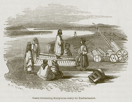 Cases Containing Sculptures ready for Embarkation. Illustration for Discoveries in the Ruins of Nineveh and Babylon by Austen Layard (John Murray, 1853).